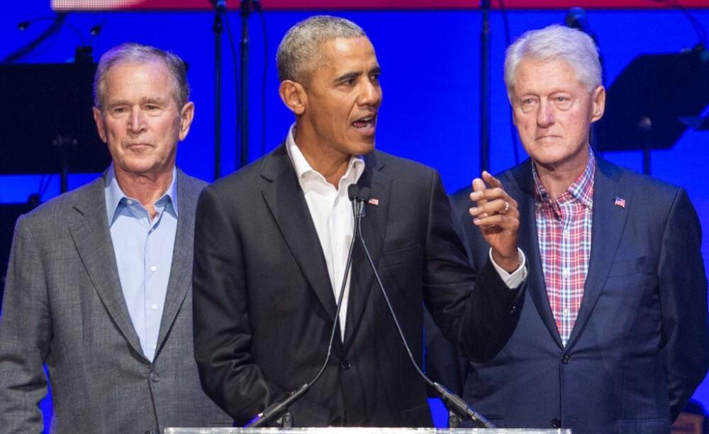 George Bush, Barack Obama y Bill Clinton. Foto AFP