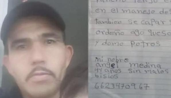 Ángel Medina, hombre que escribió su hoja de vida a mano