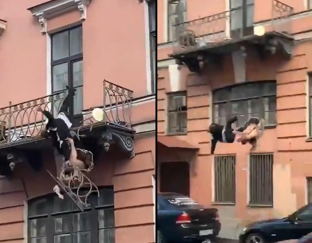Pareja se cae de un balcón en Rusia