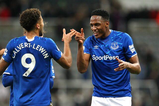 Yerry Mina y Calvert Lewin, jugadores del Everton FC