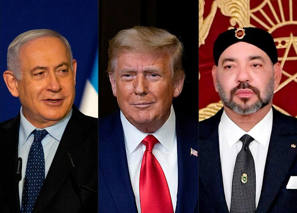 Benjamin Netanyahu, Donald Trump y el príncipe Mohammed VI de Marruecos