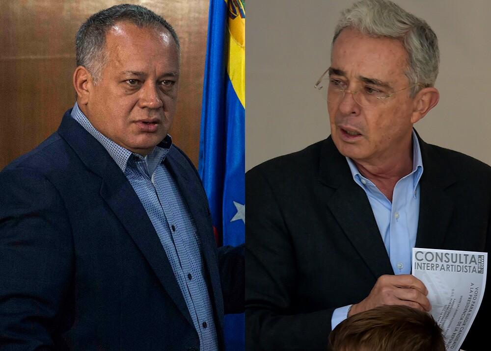 305975_BLU Radio. Diosdado Cabello y Álvaro Uribe / Foto: AFP.