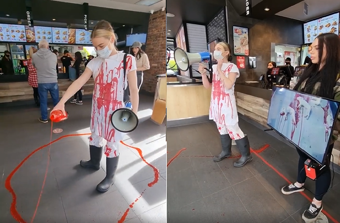 Activista vegana que derramó sangre en un KFC