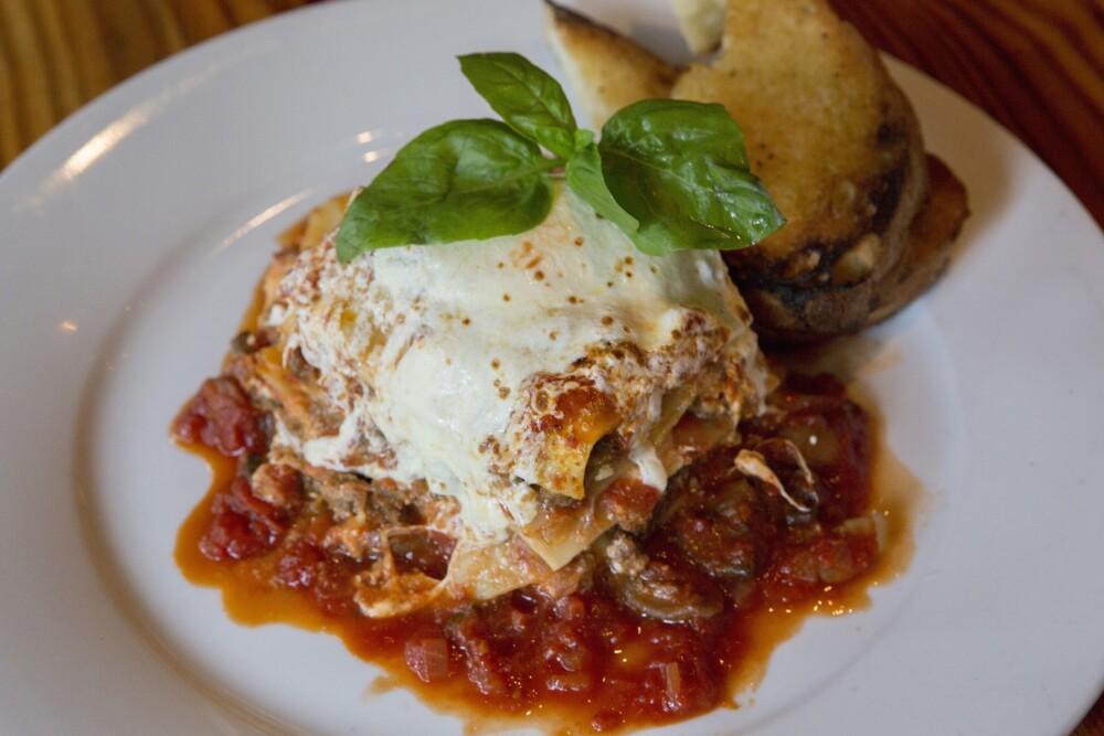 Lasagna on White Plate