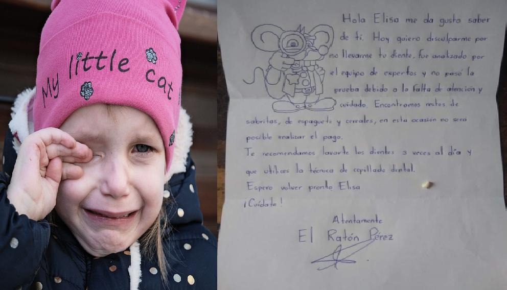 Carta del ratoncito Pérez a niña que no se cuidó los dientes