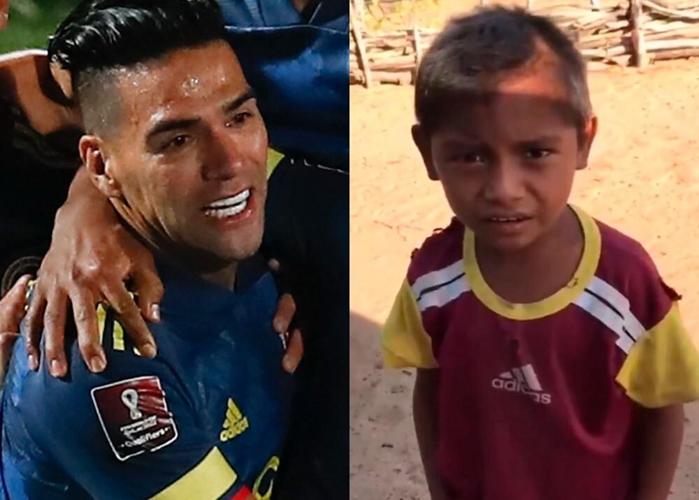 Falcao y el niño narrador : Fotos: AFP, captura video Twitter @VictorRomero155.jpeg