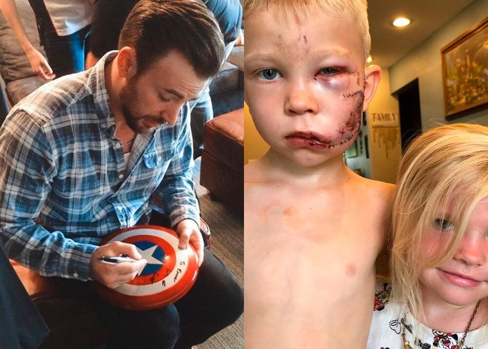 371383_Chris Evans regala escudo del Capitán América a niño héroe // Fotos: Instagram @teamcevans - @nicolenoelwalker
