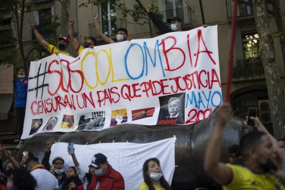 Protestas en España por la violencia en Colombia en paro nacional