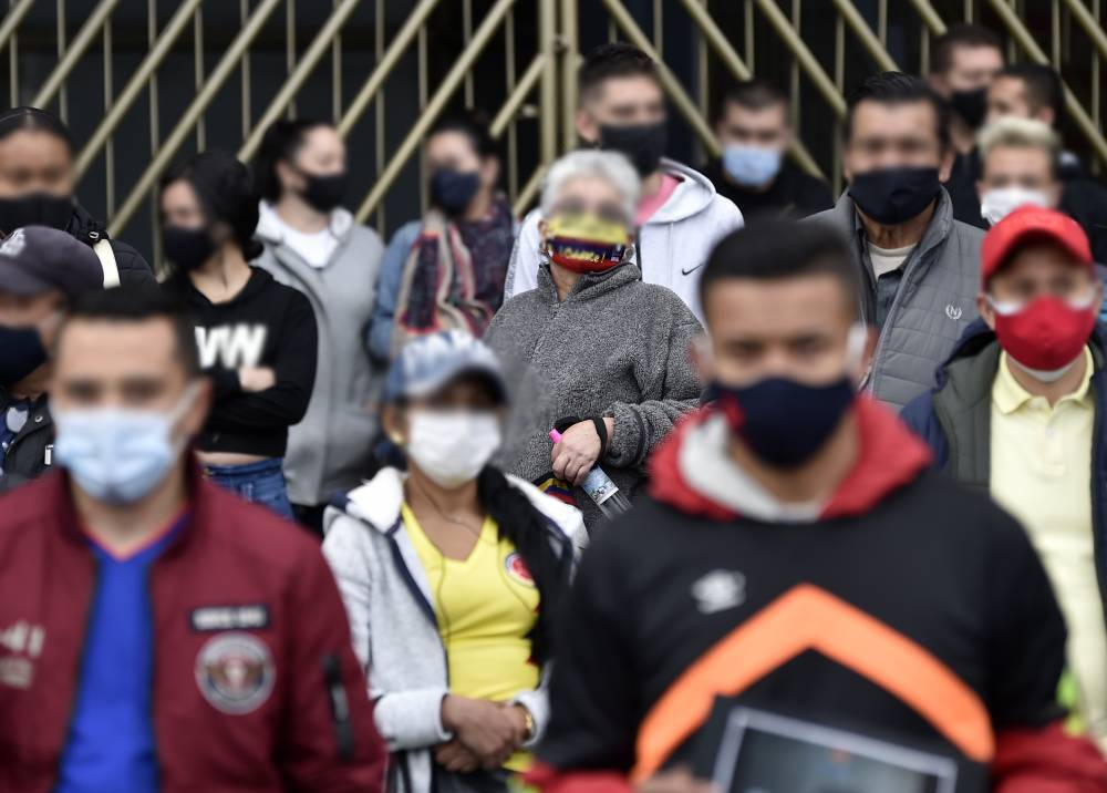 Protesta de comerciantes en Bogotá durante la pandemia