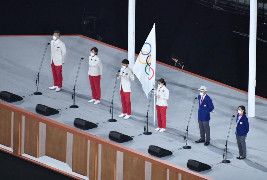Dos atletas japoneses hicieron el juramento de los Juegos Olímpicos.