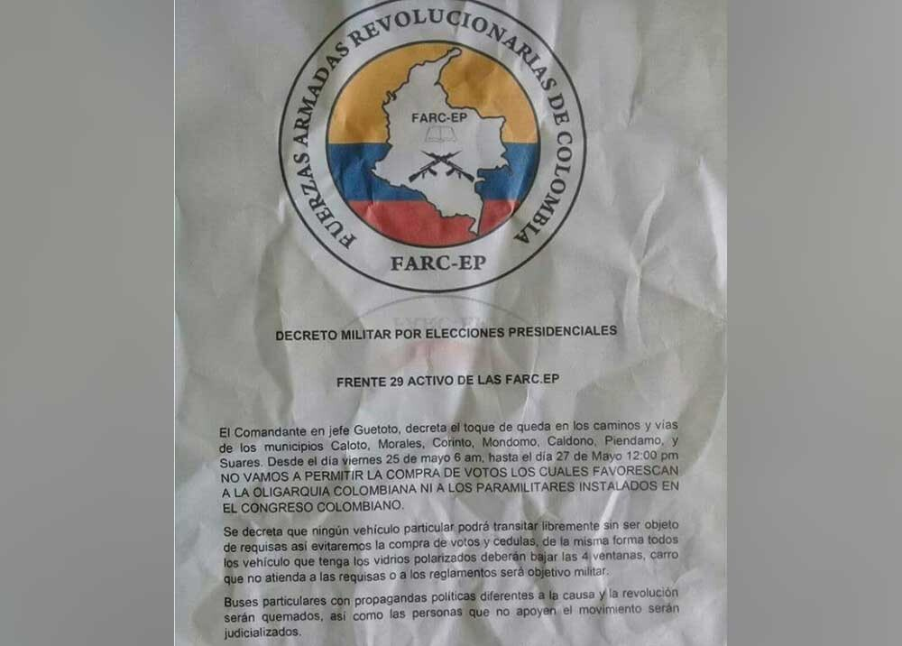 307286_Blu Radio. Planfleto que circula en el norte del Cauca / Foto: Cortesía