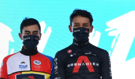 Ivan Sosa y Egan Bernal en el podio del Tour de Provence.
