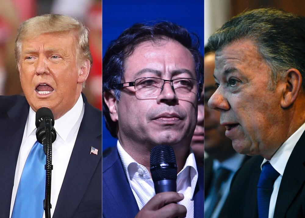 Donald Trump, Gustavo Petro y Juan Manuel Santos // Fotos: AFP