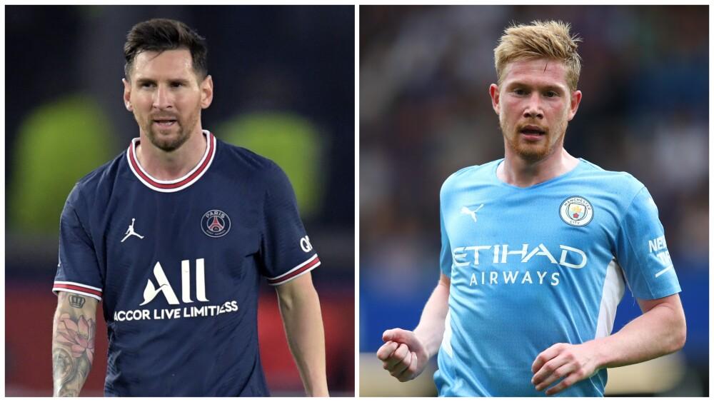 Lionel Messi, figura del PSG, y Kevin De Bruyne, estrella del Manchester City