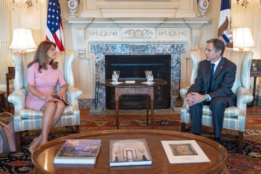 Reunión del secretario de Estado estadounidense, Antony Blinken con la vicepresidenta y canciller de Colombia, Marta Lucía Ramírez.
