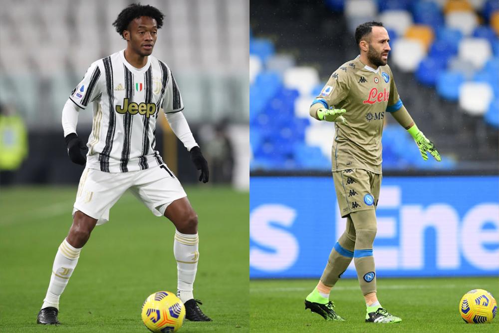 Juan Cuadrado, lateral de la Juventus y David Ospina, portero de Napoli. Getty Images.png