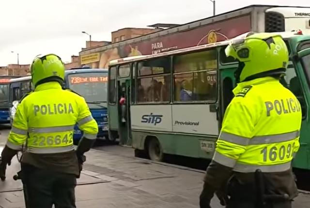 despligue policial en Bogotá.