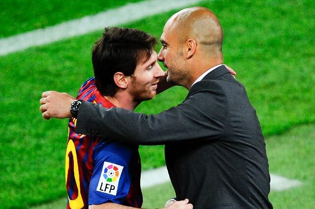 Lionel Messi y Pep Guardiola, en Champions League