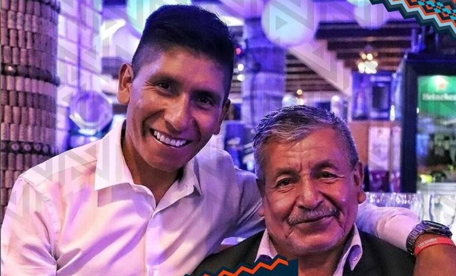 Nairo Quintana y su padre Luis Quintana, quien le ganó la batalla al COVID-19.