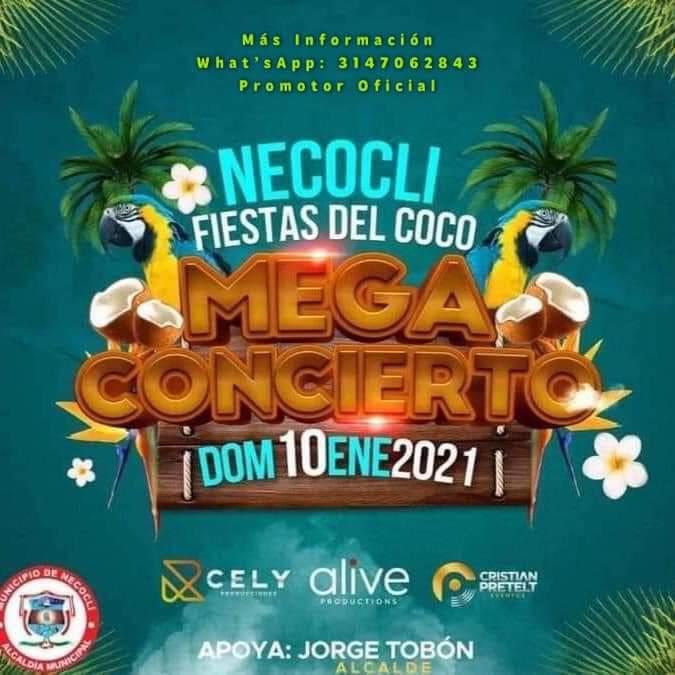 Cancelan las Fiestas del Coco en Necoclí tras polémica por convocar a concierto presencial
