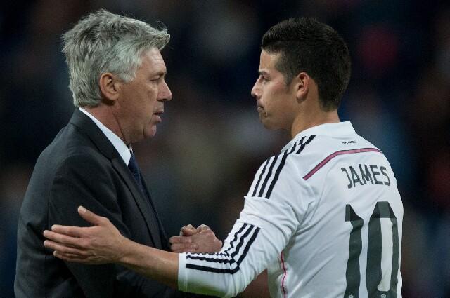 James Rodríguez con Carlo Ancelotti