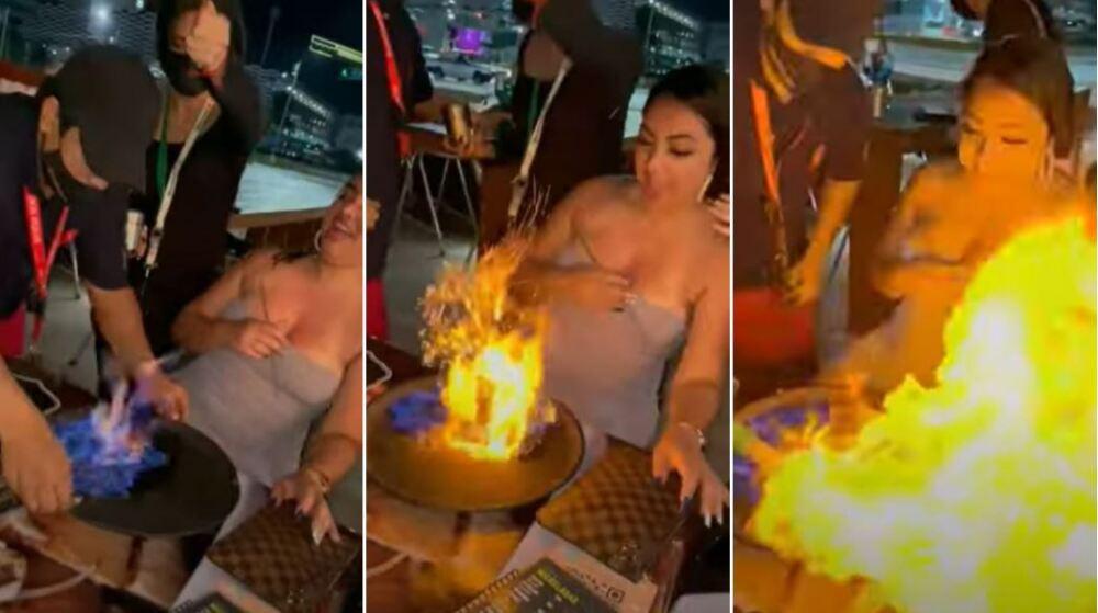 turista quemada con coctel en llamas en Cancún, México
