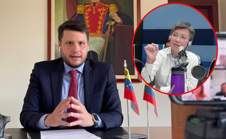Eduardo Battistini Encargado de Negocios y Jefe de Misión de la Embajada de Venezuela Claudia López .png
