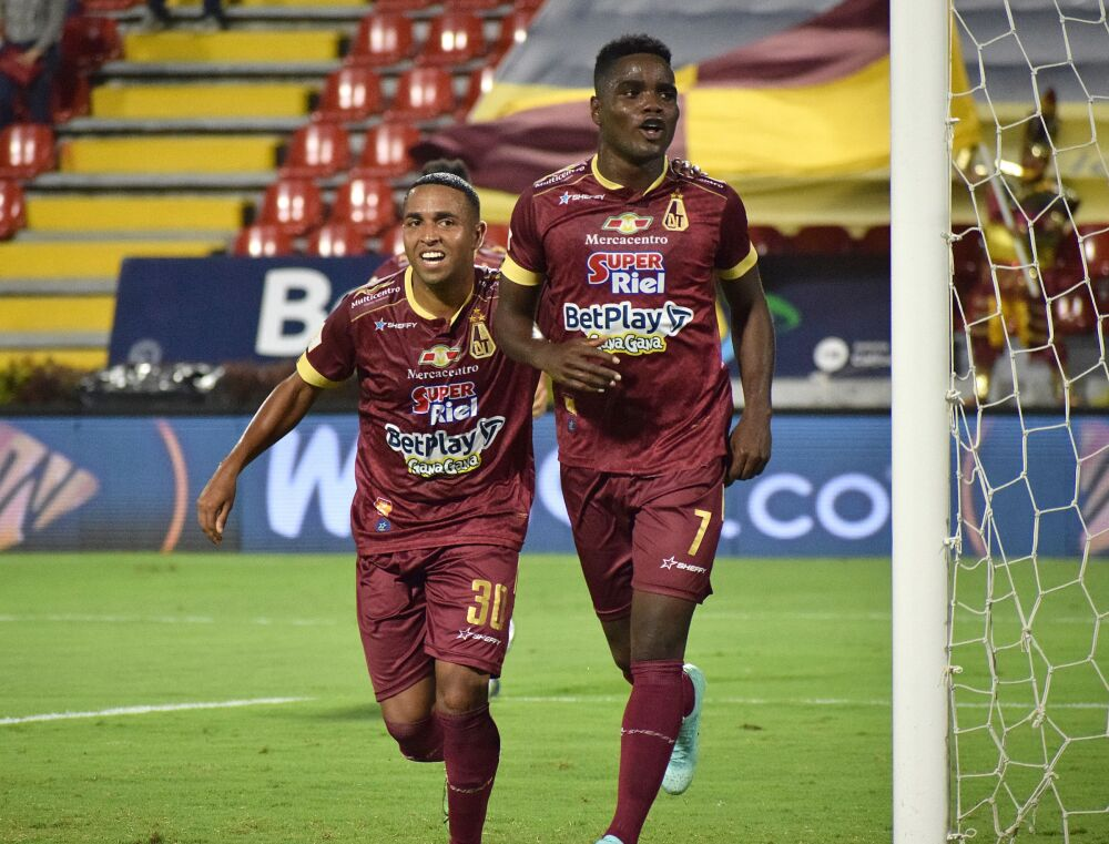 Deportes Tolima celebra un gol. Dimayor.jpeg