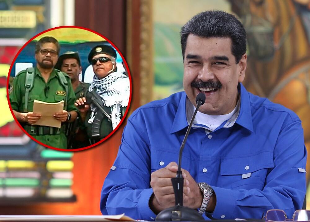 343152_BLU Radio // Nicolás Maduro, 'Iván Márquez' y 'Jesús Santrich' // Fotos: AFP