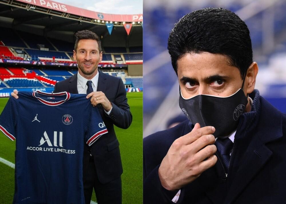 Messi y Al-Khelaïfi PSG Foto AFP.jpg