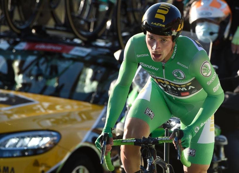 Primoz Roglic en la contrarreloj de la Vuelta a España 2020.