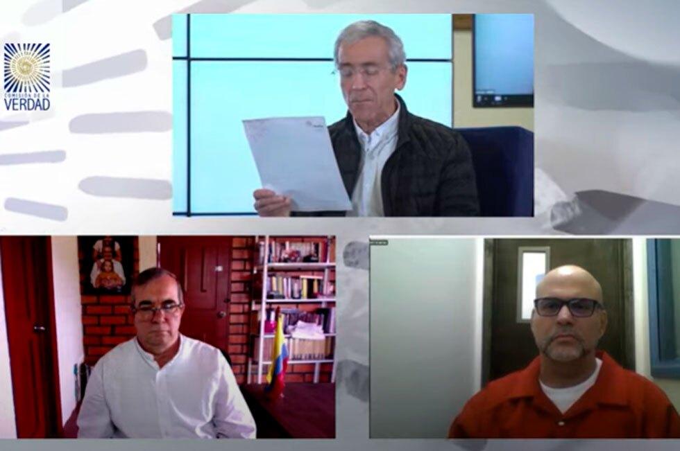 Rodrigo Londoño y Salvatore Mancuso en la Comisión de la Verdad