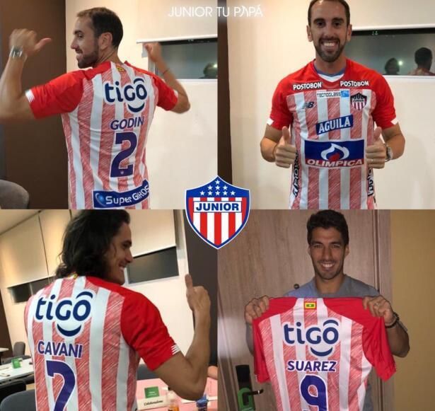 Diego Godín, Luis Suárez y Edinson Cavani, camiseta Junior