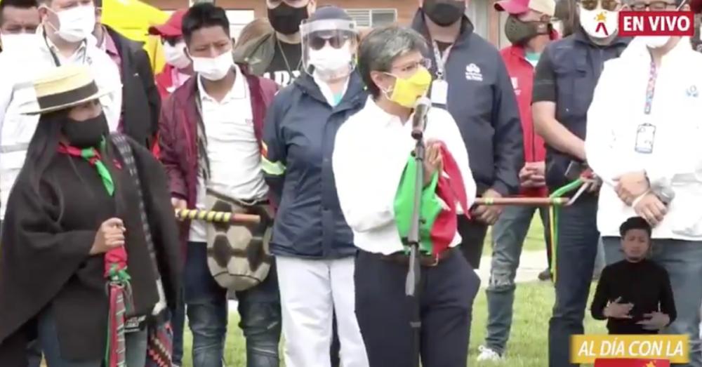 Claudia López y la Minga Indígena : Foto captura de video Twitter @claudialopez.png