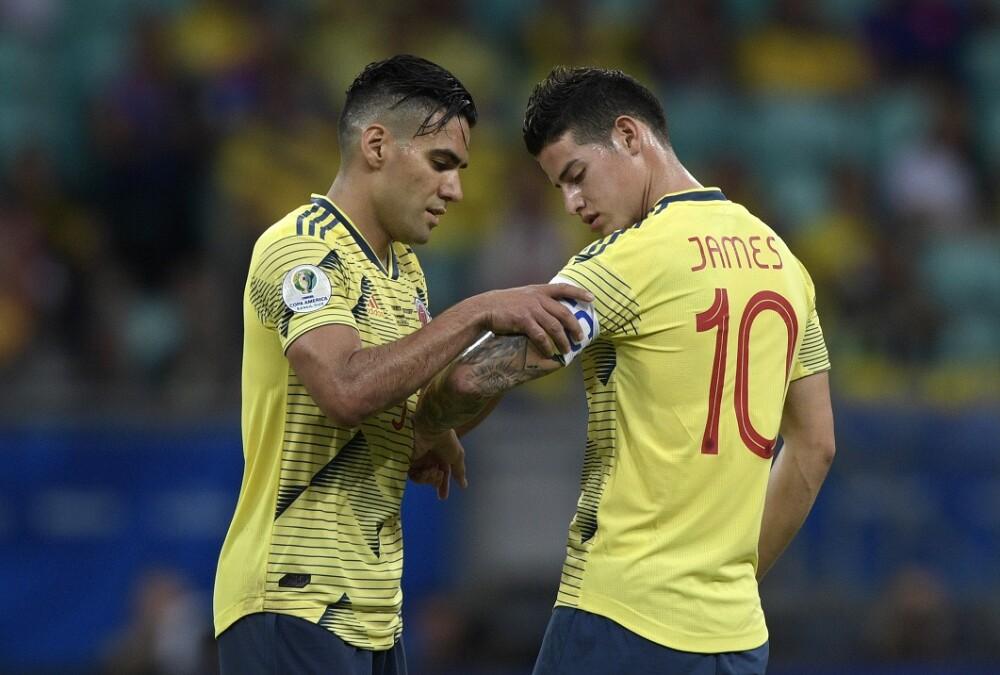 Falcao García y James Rodríguez. Foto: AFP