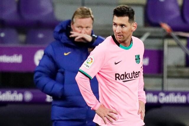 Ronald Koeman, técnico del Barcelona, y Lionel Messi