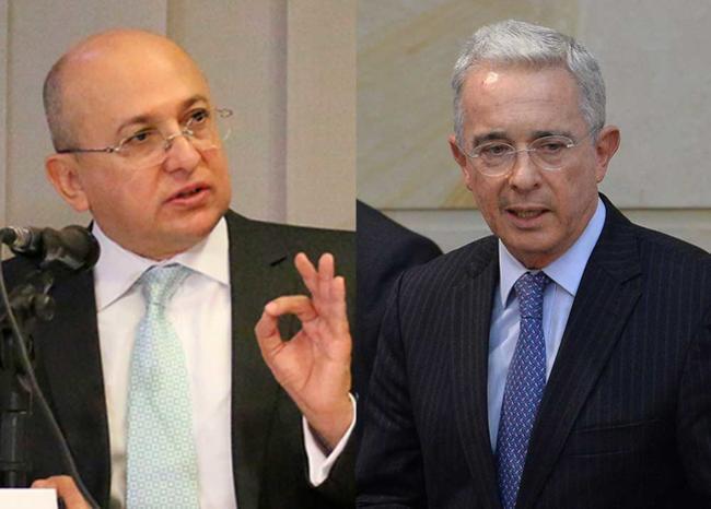 344769_BLU Radio // Exfiscal Eduardo Montealegre y el expresidente Álvaro Uribe // Fotos: Archivo Fiscalía - AFP