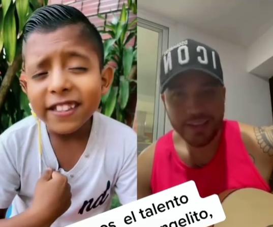 Jessi Uribe y niño cantando