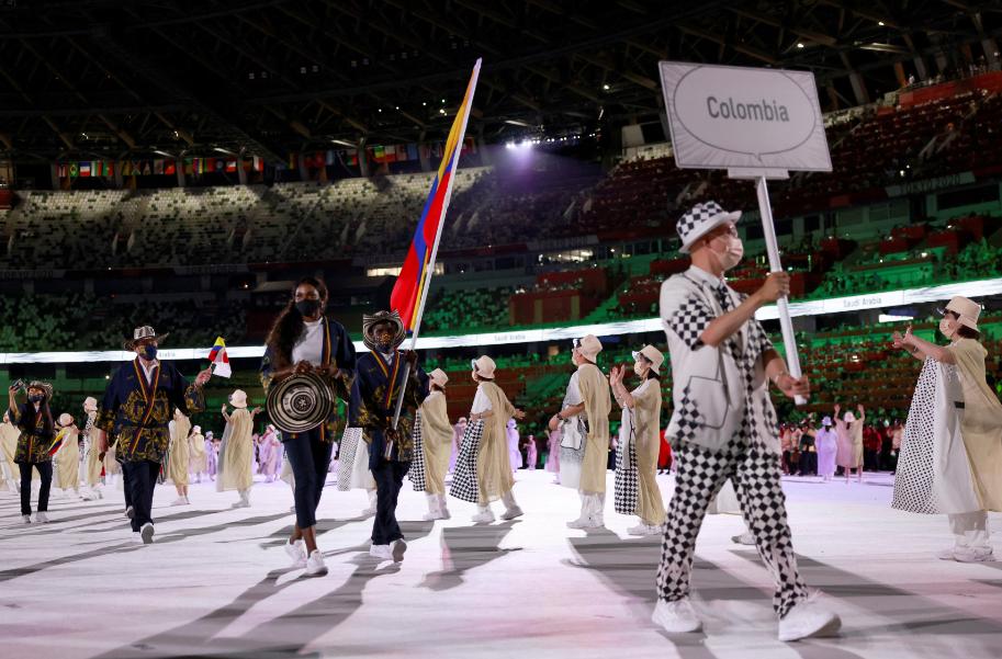 Colombia desfiló en la ceremonia de apertura de los Juegos Olímpicos de Tokio 2020.