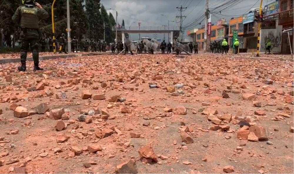 enfrentamientos en Madrid, Cundinamarca y bloqueos