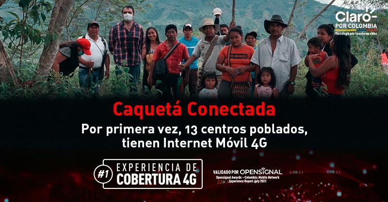 Claro Colombia conecta a centros poblados de Caquetá con Internet Móvil 4G
