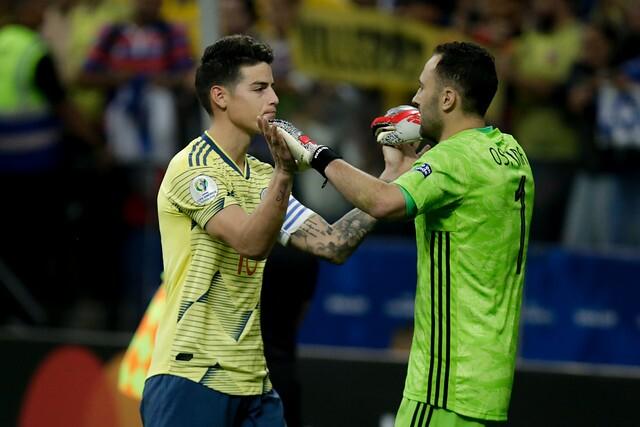 James Rodríguez y David Ospina, jugadores de Selección Colombia