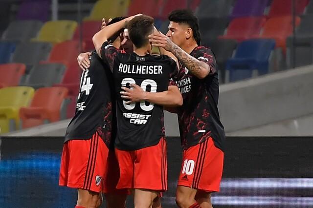 Celebración de River Plate, tras su victoria contra Central Córdoba