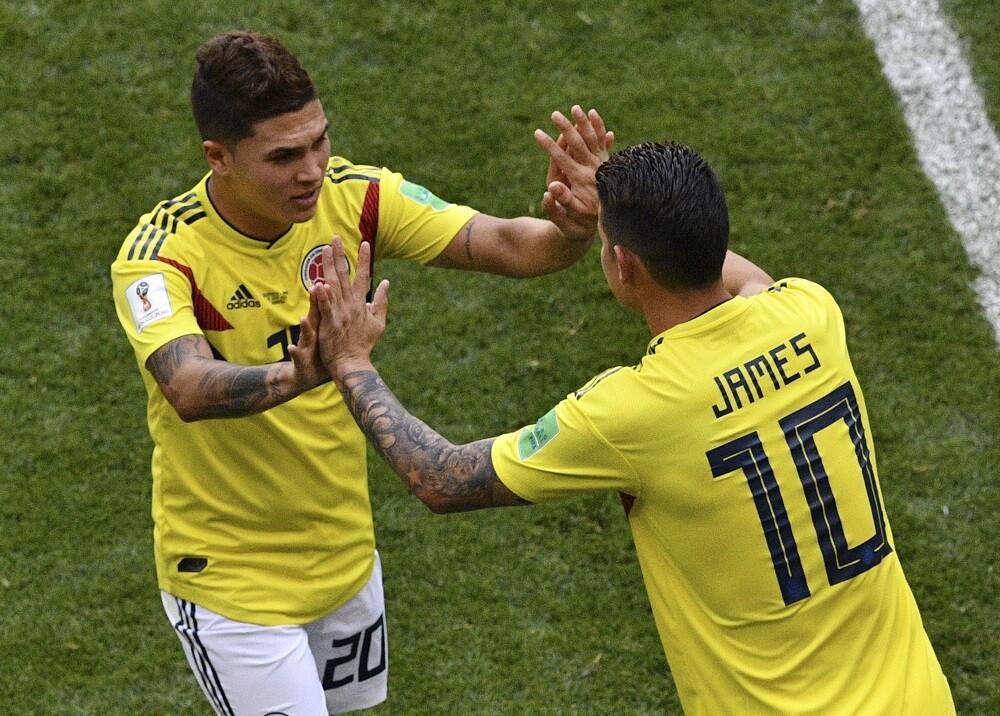 347143_James Rodríguez y Juan Fernando Quintero // Foto: AFP