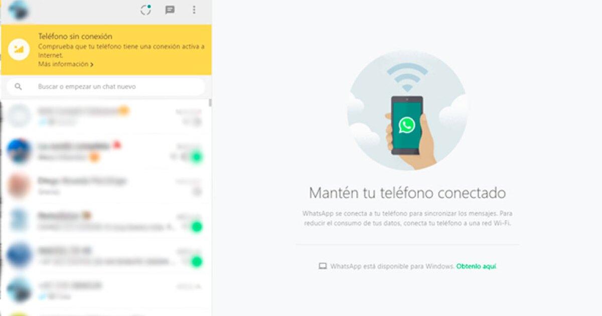WhatsApp Web: qué hacer cuando aparece el mensaje 'teléfono sin conexión'
