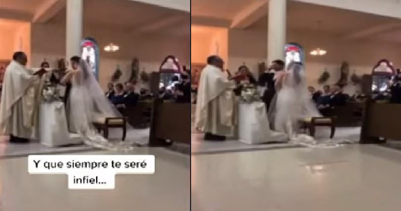 Novio se equivocó al leer los votos el día de su boda