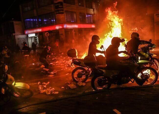 Protestas en Bogotá. Foto: AFP