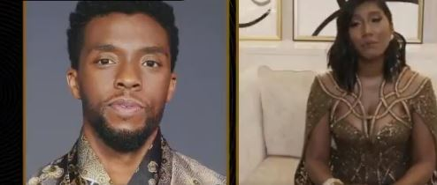 Esposa del actor Chadwick Boseman , Taylor Simone Ledward en los Globo de Oro.JPG