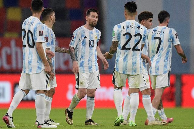 Selección Argentina antes de enfrentar a Colombia