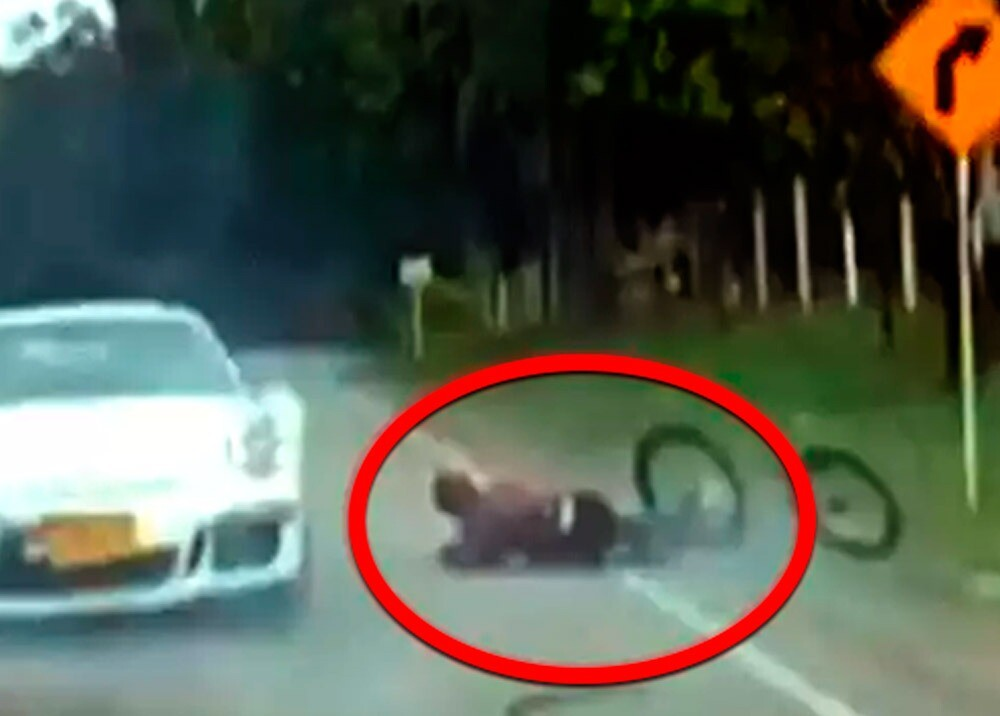 Ciclista arrollado en Santander / Foto captura video suministrado